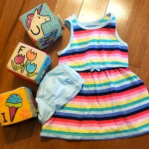 Carters rainbow tank dress with matching bloomers